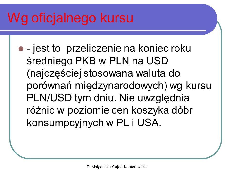 Wg oficjalnego kursu - jest to przeliczenie na koniec roku średniego PKB w PLN na USD (najczęściej stosowana waluta do porównań międzynarodowych) wg kursu PLN/USD tym dniu.