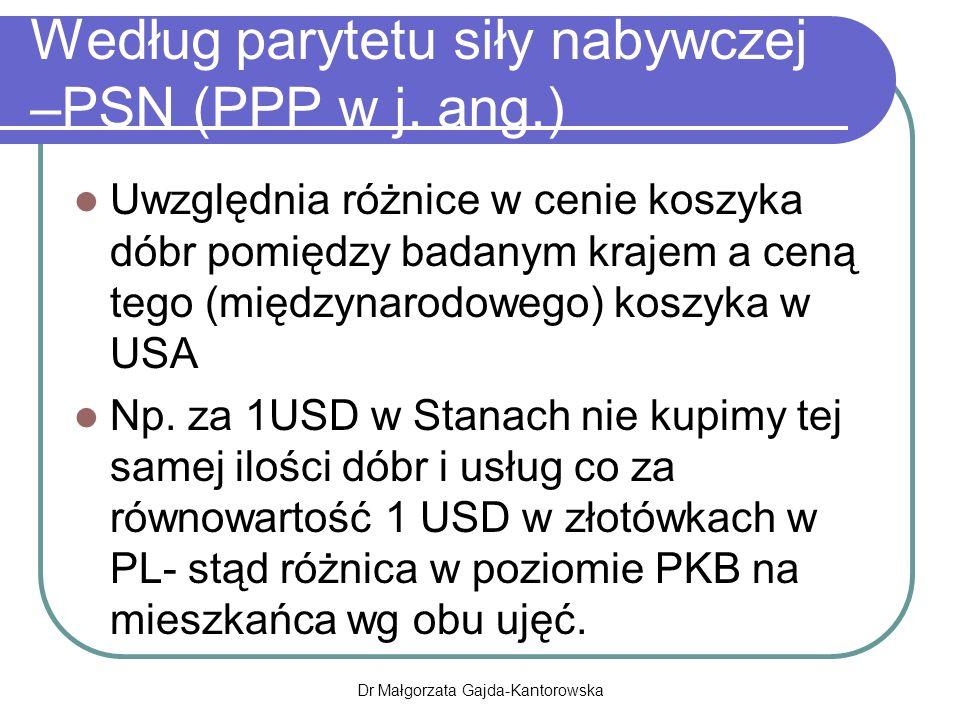 Według parytetu siły nabywczej –PSN (PPP w j.