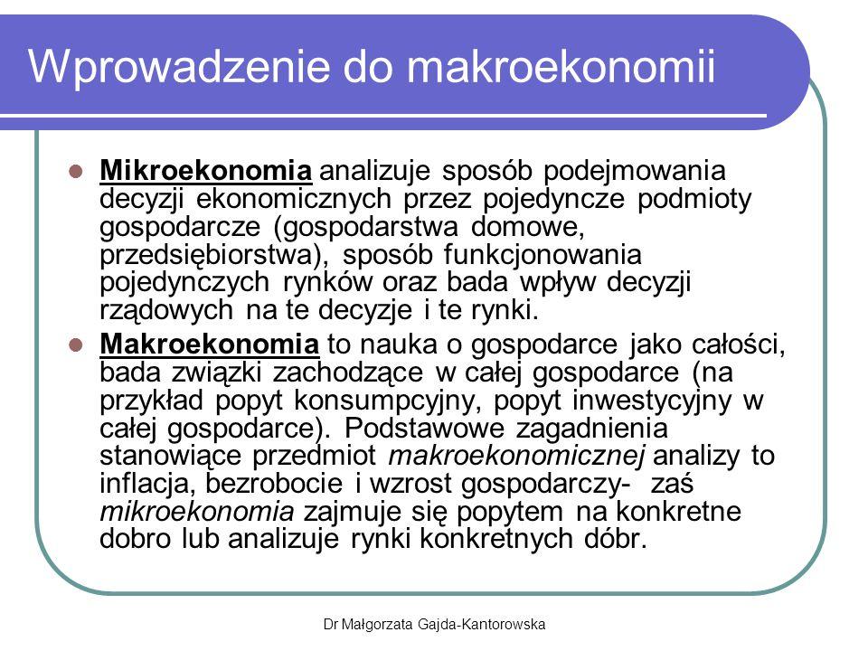 Luka recesyjna Występuję, gdy poziom produkcji faktycznej jest niższy od poziomu produkcji potencjalnej Świadczy o niepełnym wykorzystaniu mocy wytwórczych, szczególnie siły roboczej- bezrobocie przymusowe Dr Małgorzata Gajda-Kantorowska