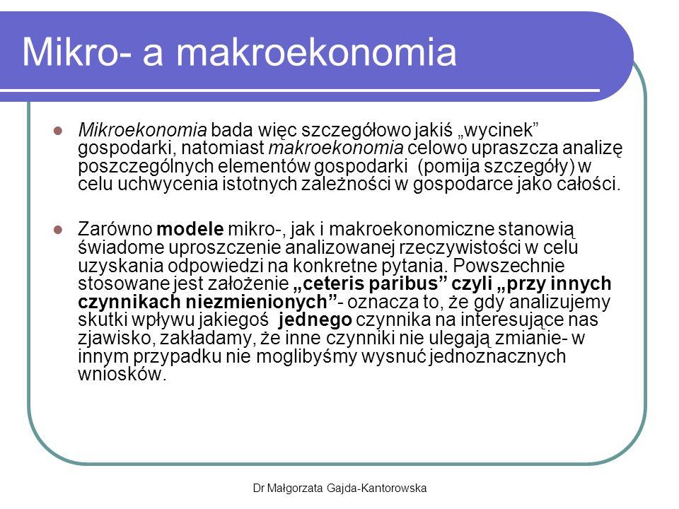 PKB w cenach rynkowych Jest to suma wartości dóbr i usług wytworzonych na terenie danego kraju przez wszystkie czynniki wytwórcze niezależnie od tego, kto jest ich właścicielem Miernik oparty na lokalizacji czynników wytwórczych Dr Małgorzata Gajda-Kantorowska