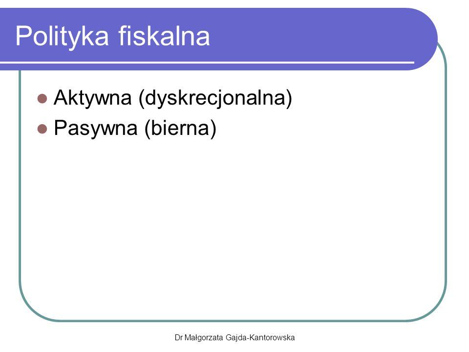 Polityka fiskalna Aktywna (dyskrecjonalna) Pasywna (bierna) Dr Małgorzata Gajda-Kantorowska