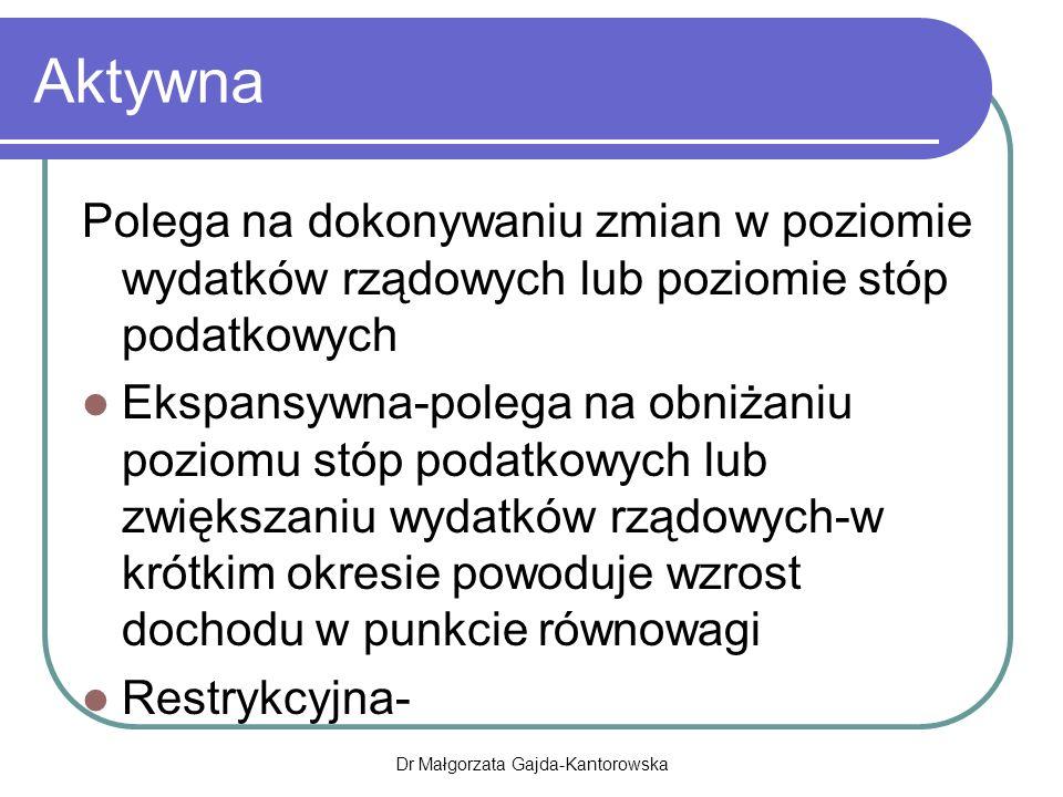 Aktywna Polega na dokonywaniu zmian w poziomie wydatków rządowych lub poziomie stóp podatkowych Ekspansywna-polega na obniżaniu poziomu stóp podatkowych lub zwiększaniu wydatków rządowych-w krótkim okresie powoduje wzrost dochodu w punkcie równowagi Restrykcyjna- Dr Małgorzata Gajda-Kantorowska