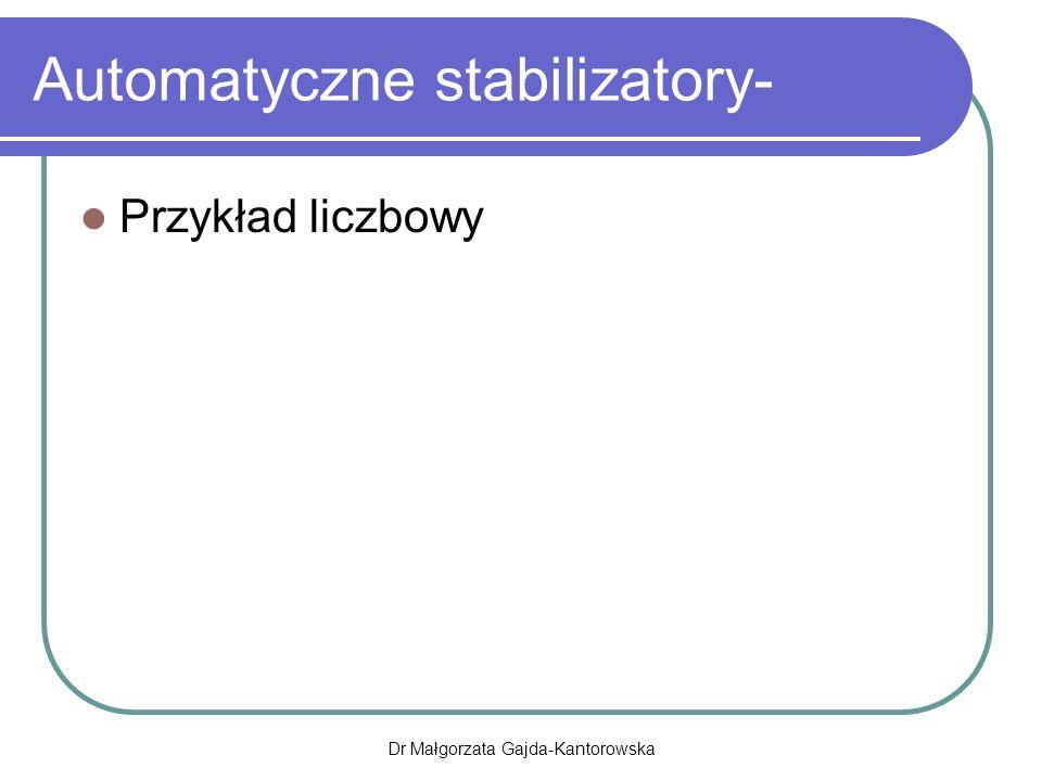 Automatyczne stabilizatory- Przykład liczbowy Dr Małgorzata Gajda-Kantorowska