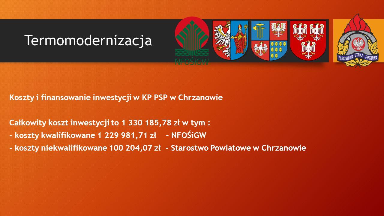 Termomodernizacja Koszty i finansowanie inwestycji w KP PSP w Chrzanowie Całkowity koszt inwestycji to 1 330 185,78 zł w tym : - koszty kwalifikowane 1 229 981,71 zł – NFOŚiGW - koszty niekwalifikowane 100 204,07 zł - Starostwo Powiatowe w Chrzanowie