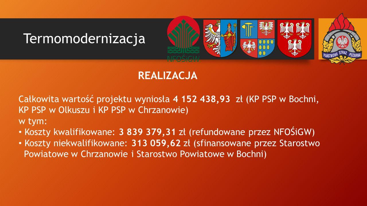 Termomodernizacja REALIZACJA Całkowita wartość projektu wyniosła 4 152 438,93 zł (KP PSP w Bochni, KP PSP w Olkuszu i KP PSP w Chrzanowie) w tym: Koszty kwalifikowane: 3 839 379,31 zł (refundowane przez NFOŚiGW) Koszty niekwalifikowane: 313 059,62 zł (sfinansowane przez Starostwo Powiatowe w Chrzanowie i Starostwo Powiatowe w Bochni)