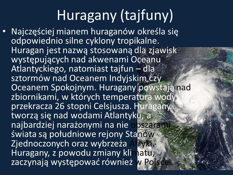 Huragany (tajfuny) Najczęściej mianem huraganów określa się odpowiednio silne cyklony tropikalne. Huragan jest nazwą stosowaną dla zjawisk występujący