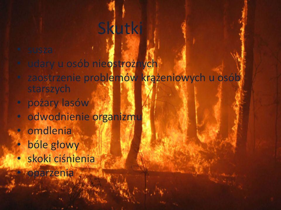 Skutki susza udary u osób nieostrożnych zaostrzenie problemów krążeniowych u osób starszych pożary lasów odwodnienie organizmu omdlenia bóle głowy sko