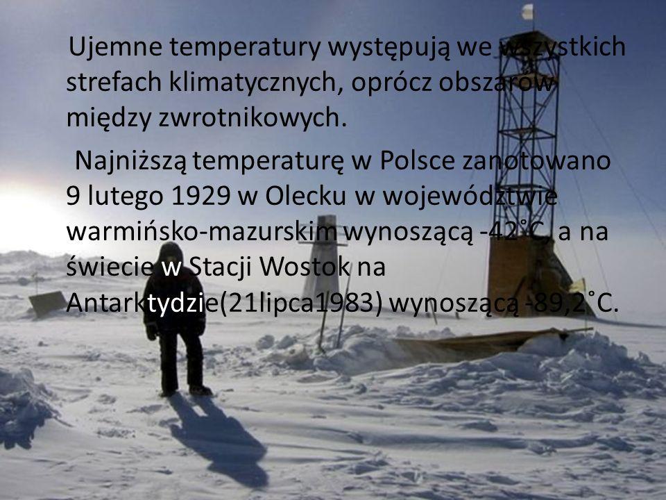 Ujemne temperatury występują we wszystkich strefach klimatycznych, oprócz obszarów między zwrotnikowych. Najniższą temperaturę w Polsce zanotowano 9 l