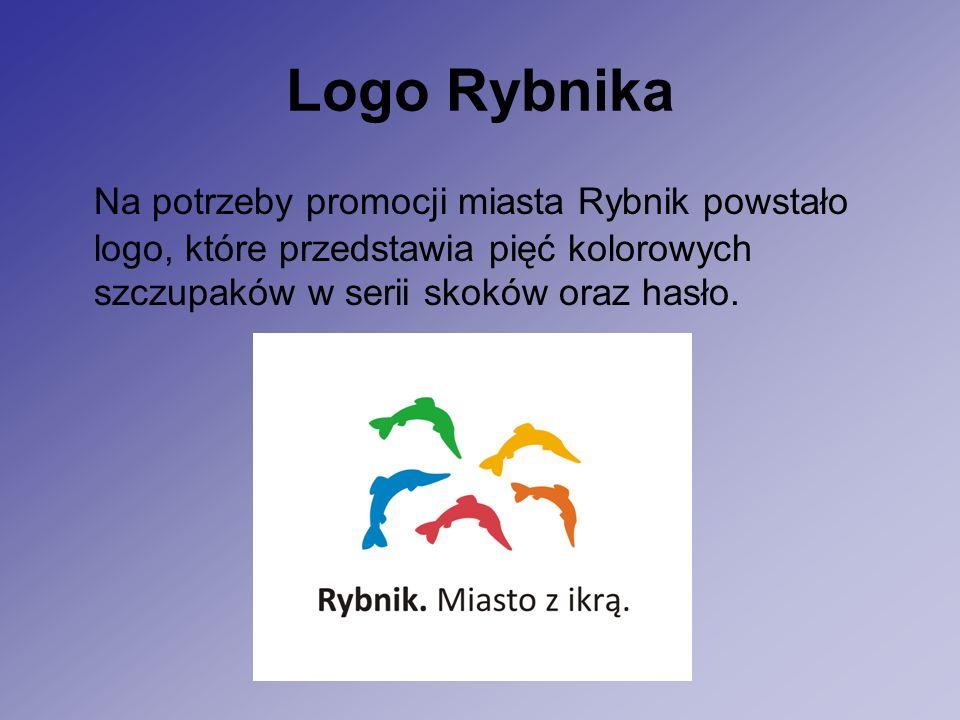 Logo Rybnika Na potrzeby promocji miasta Rybnik powstało logo, które przedstawia pięć kolorowych szczupaków w serii skoków oraz hasło.