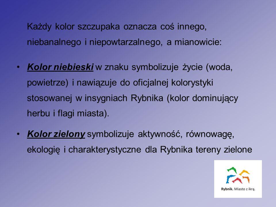 Każdy kolor szczupaka oznacza coś innego, niebanalnego i niepowtarzalnego, a mianowicie: Kolor niebieski w znaku symbolizuje życie (woda, powietrze) i nawiązuje do oficjalnej kolorystyki stosowanej w insygniach Rybnika (kolor dominujący herbu i flagi miasta).
