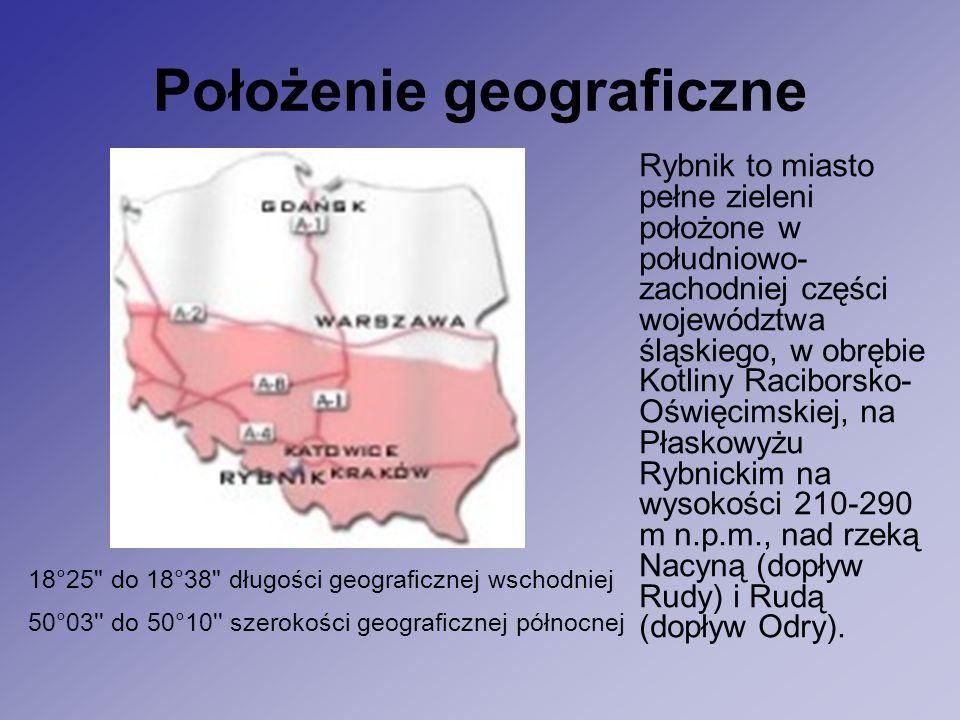 Położenie geograficzne Rybnik to miasto pełne zieleni położone w południowo- zachodniej części województwa śląskiego, w obrębie Kotliny Raciborsko- Oświęcimskiej, na Płaskowyżu Rybnickim na wysokości 210-290 m n.p.m., nad rzeką Nacyną (dopływ Rudy) i Rudą (dopływ Odry).