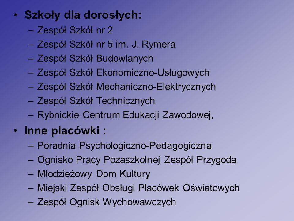 Szkoły dla dorosłych: –Zespół Szkół nr 2 –Zespół Szkół nr 5 im.