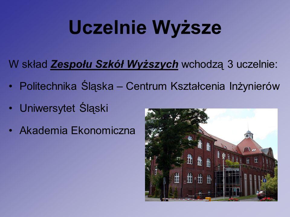 Uczelnie Wyższe W skład Zespołu Szkół Wyższych wchodzą 3 uczelnie: Politechnika Śląska – Centrum Kształcenia Inżynierów Uniwersytet Śląski Akademia Ekonomiczna