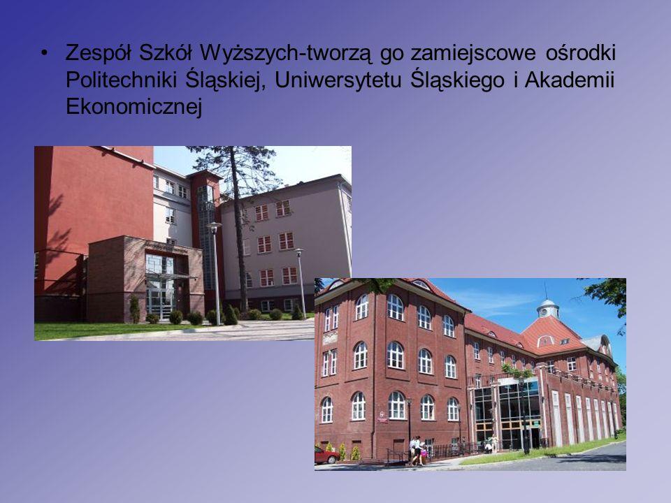 Zespół Szkół Wyższych-tworzą go zamiejscowe ośrodki Politechniki Śląskiej, Uniwersytetu Śląskiego i Akademii Ekonomicznej