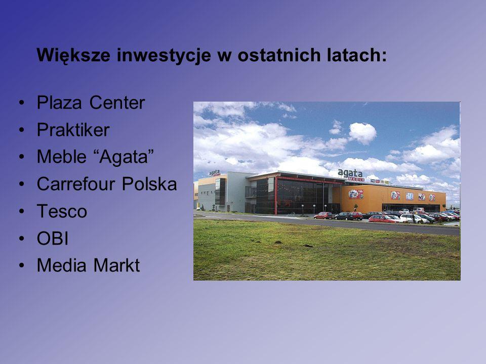 Większe inwestycje w ostatnich latach: Plaza Center Praktiker Meble Agata Carrefour Polska Tesco OBI Media Markt