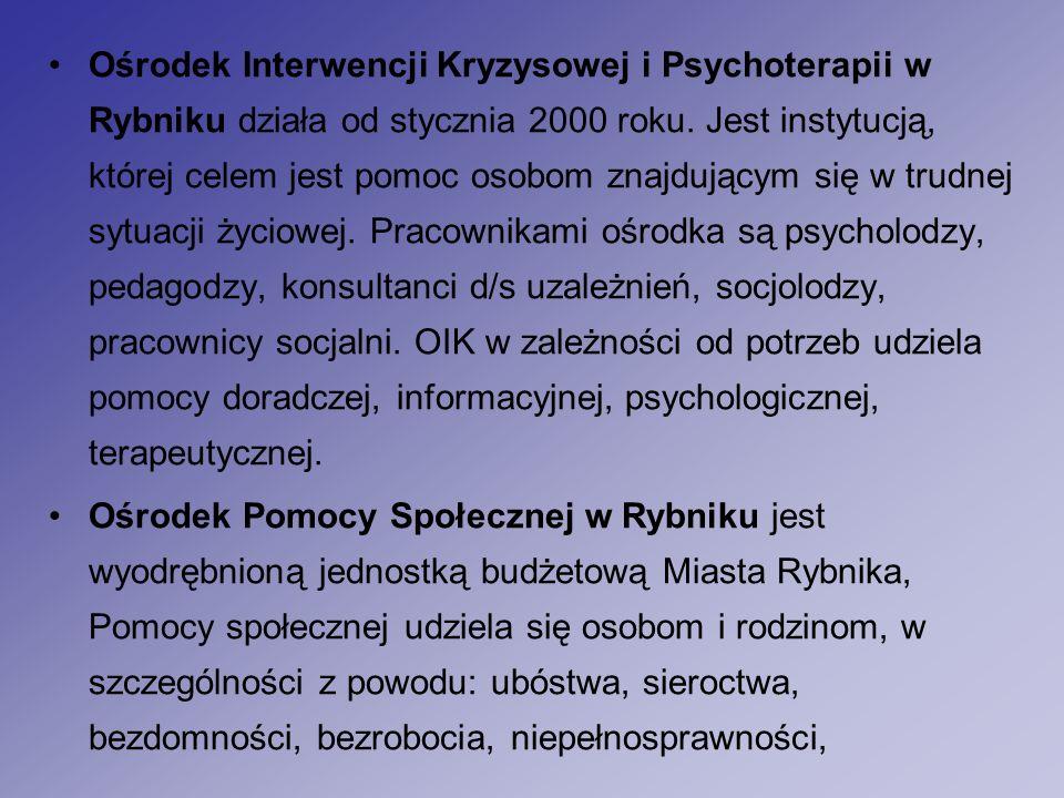Ośrodek Interwencji Kryzysowej i Psychoterapii w Rybniku działa od stycznia 2000 roku.