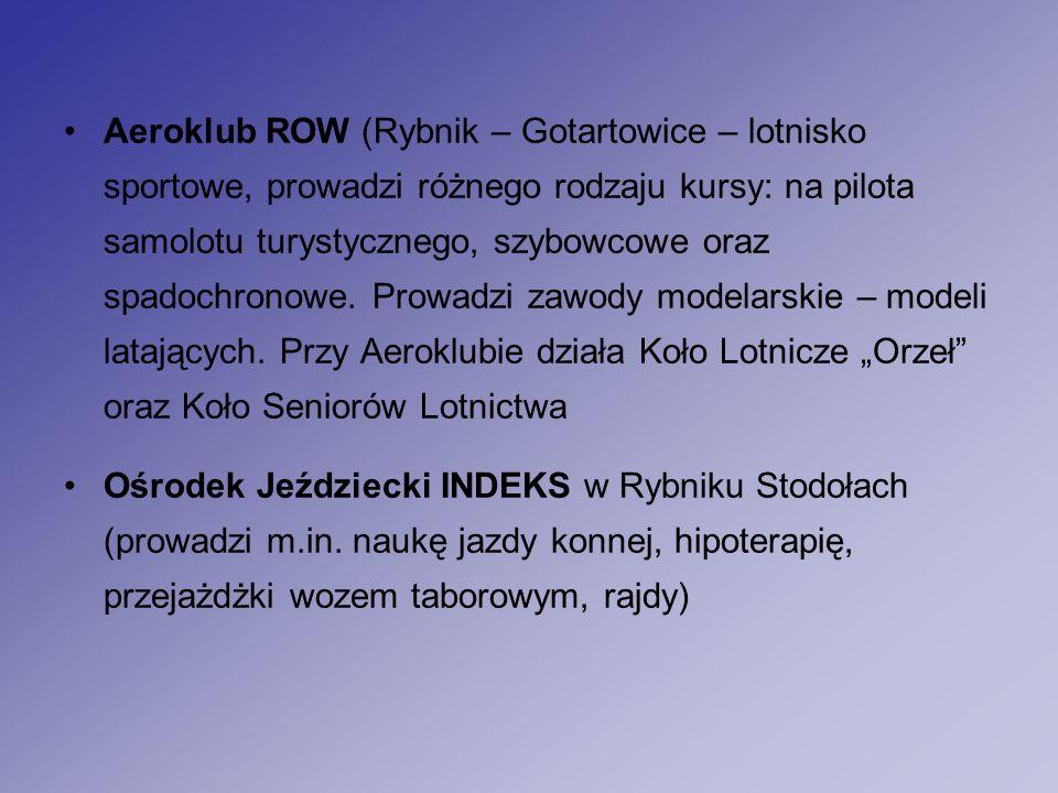 Aeroklub ROW (Rybnik – Gotartowice – lotnisko sportowe, prowadzi różnego rodzaju kursy: na pilota samolotu turystycznego, szybowcowe oraz spadochronowe.