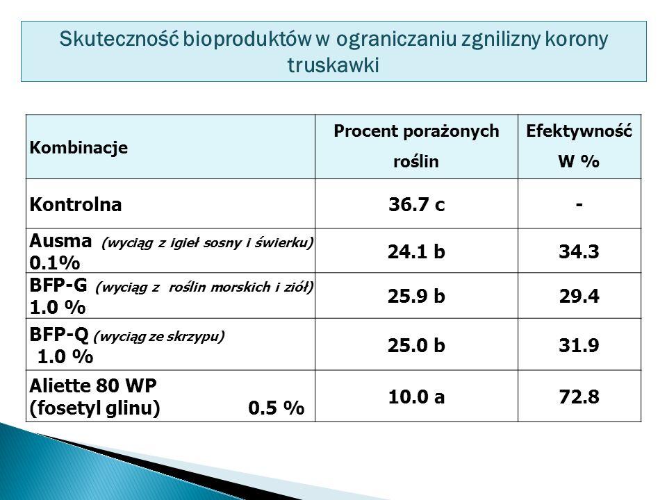 Kombinacje Procent porażonych roślin Efektywność W % Kontrolna36.7 c- Ausma (wyciąg z igieł sosny i świerku) 0.1% 24.1 b34.3 BFP-G (wyciąg z roślin morskich i ziół) 1.0 % 25.9 b29.4 BFP-Q (wyciąg ze skrzypu) 1.0 % 25.0 b31.9 Aliette 80 WP (fosetyl glinu) 0.5 % 10.0 a72.8 Skuteczność bioproduktów w ograniczaniu zgnilizny korony truskawki