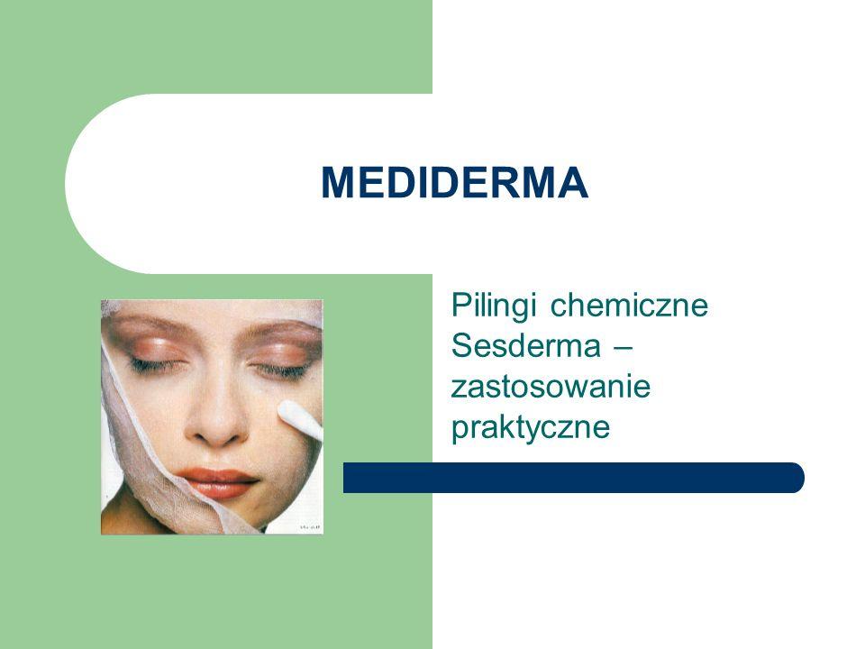 Dlaczego Sesderma Opracowywane przez lekarza praktyka możliwe stosowanie Sandwich Technique (łączenie preparatów różnych linii między sobą) Bardzo indywidualne terapie, pozwalające stworzyć indywidualne rozwiązania na różne problemy ( przebarwienia hemosyderotyczne, cienie pod oczami, blizny po ospie) Wysoka jakość farmakopealna i znakomite właściwości chemiczne – skuteczne i bezpieczne Szereg badań klinicznych i opisów mechanizmów działania jednostkowych substancji