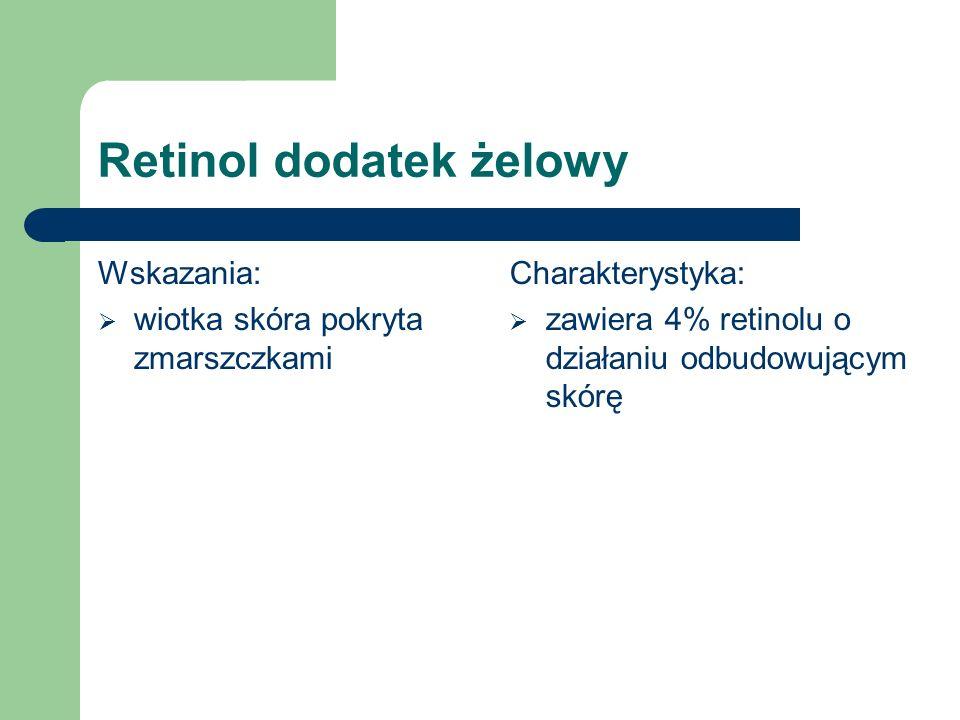 Retinol dodatek żelowy Wskazania:  wiotka skóra pokryta zmarszczkami Charakterystyka:  zawiera 4% retinolu o działaniu odbudowującym skórę