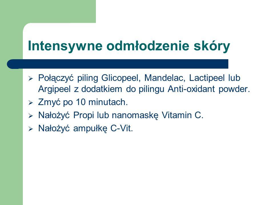 Intensywne odmłodzenie skóry  Połączyć piling Glicopeel, Mandelac, Lactipeel lub Argipeel z dodatkiem do pilingu Anti-oxidant powder.  Zmyć po 10 mi