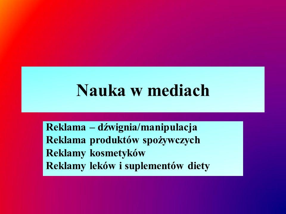 """Reklama – dźwignia/manipulacja  Reklama- specjalne techniki i działania mające na celu zwrócenia uwagi na produkt lub usługę, zachęcenie do kupna  Stosowanie naukowej lub pseudonaukowej terminologii dla uwiarygodnienia wyjątkowych właściwości produktów Reklama - nazwa producenta/handlowa lub """"półprawda Nazwa systematyczna/rzeczywistość  Bakterie jogurtowe – Lactobacillus casei defensis/immunitas/prophylactis  Bakterie jogurtowe – Lactobacillus casei  Majonez, masło roślinne – źródło kwasów """"omega-3  Źródłem naturalnych kwasów omega-3 jest tran wielonienasycone kwasy tłuszczowe (ostatnie wiązanie podwójne w cząsteczce występuje na 3 at."""