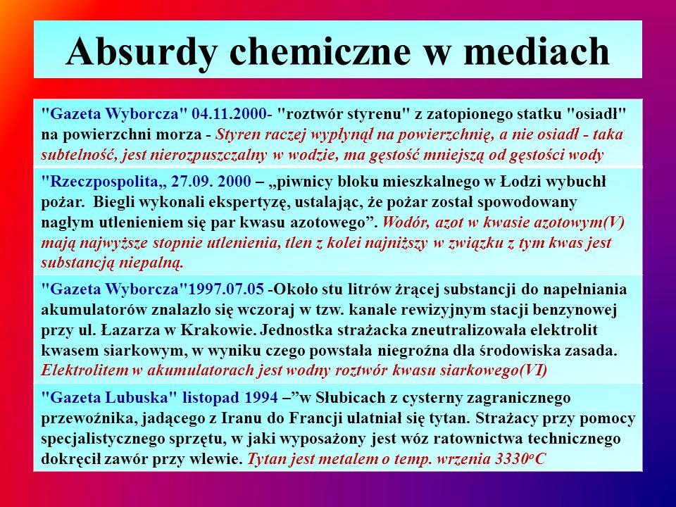 Absurdy chemiczne w mediach Gazeta Wyborcza , 14.02.1995- Rzadki minerał o nazwie indium (symbol In), z którego produkuje się ciekłokrystaliczne wyświetlacze do monitorów, stał się bolączką japońskich producentów Nie minerał lecz pierwiastek, nie indium lecz ind.