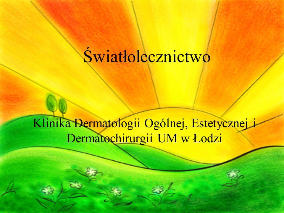 Światło W widmie słonecznym lecznicze działanie mają: - promienie świetlne widzialne – 33-40% (stosowane w leczeniu depresji sezonowej) - promienie podczerwone – 50-60% (przenikają przez skórę i działają głębiej, wykorzystywane jest ich działanie rozgrzewające) - promienie krótkie nadfioletowe UVA, UVB – 1- 2% (pochłaniane przez skórę, wywierają wpływ na procesy biologiczne)