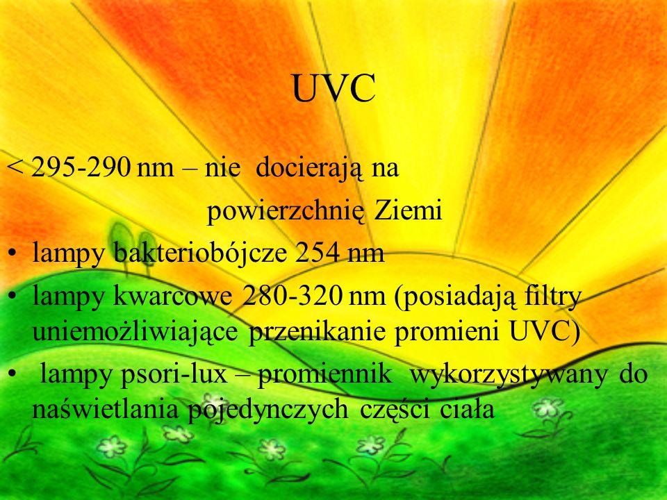 UVC < 295-290 nm – nie docierają na powierzchnię Ziemi lampy bakteriobójcze 254 nm lampy kwarcowe 280-320 nm (posiadają filtry uniemożliwiające przenikanie promieni UVC) lampy psori-lux – promiennik wykorzystywany do naświetlania pojedynczych części ciała