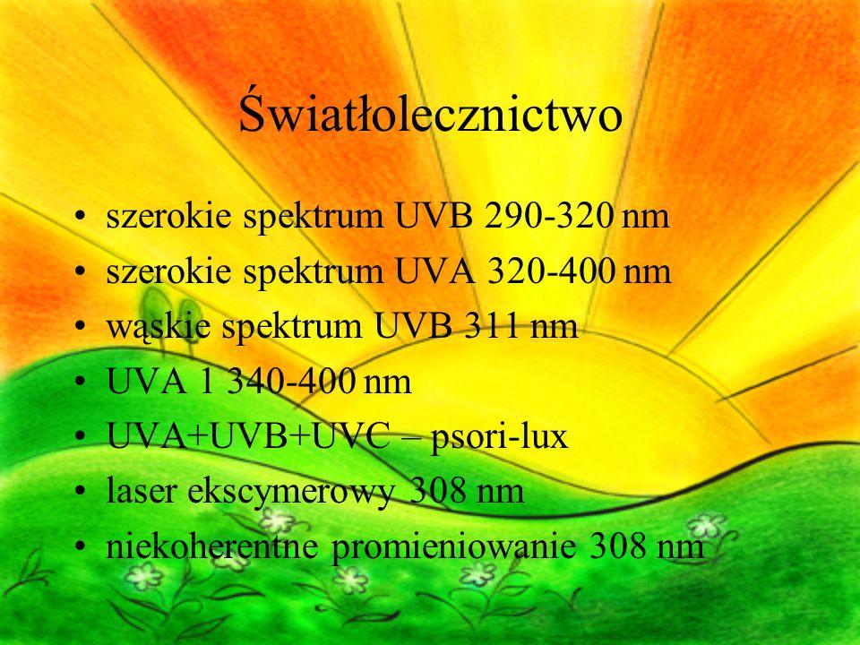 Światłolecznictwo szerokie spektrum UVB 290-320 nm szerokie spektrum UVA 320-400 nm wąskie spektrum UVB 311 nm UVA 1 340-400 nm UVA+UVB+UVC – psori-lux laser ekscymerowy 308 nm niekoherentne promieniowanie 308 nm