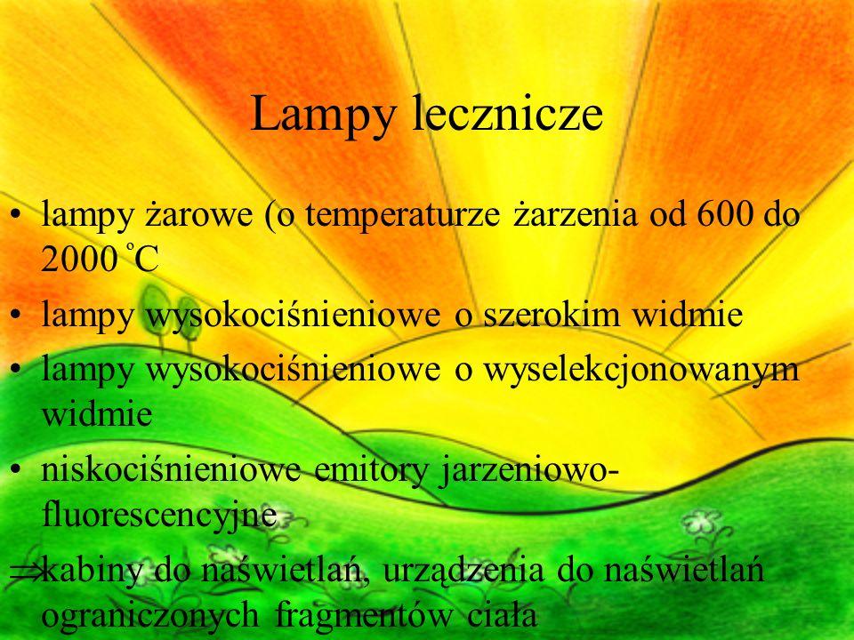 Lampy lecznicze lampy żarowe (o temperaturze żarzenia od 600 do 2000 º C lampy wysokociśnieniowe o szerokim widmie lampy wysokociśnieniowe o wyselekcjonowanym widmie niskociśnieniowe emitory jarzeniowo- fluorescencyjne  kabiny do naświetlań, urządzenia do naświetlań ograniczonych fragmentów ciała