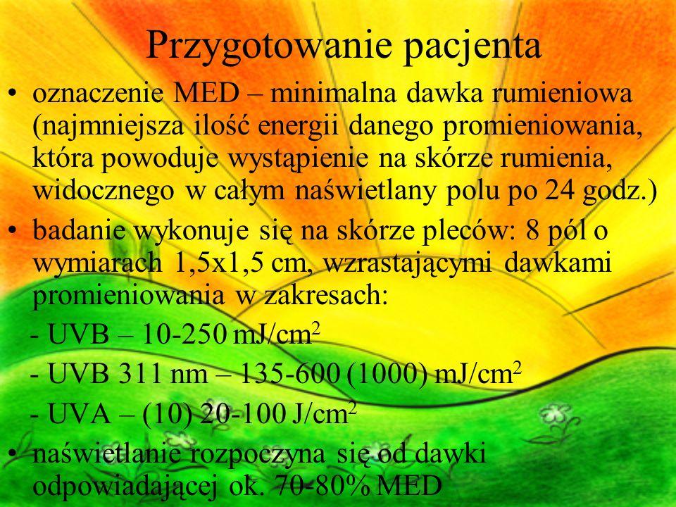 Przygotowanie pacjenta oznaczenie MED – minimalna dawka rumieniowa (najmniejsza ilość energii danego promieniowania, która powoduje wystąpienie na skó
