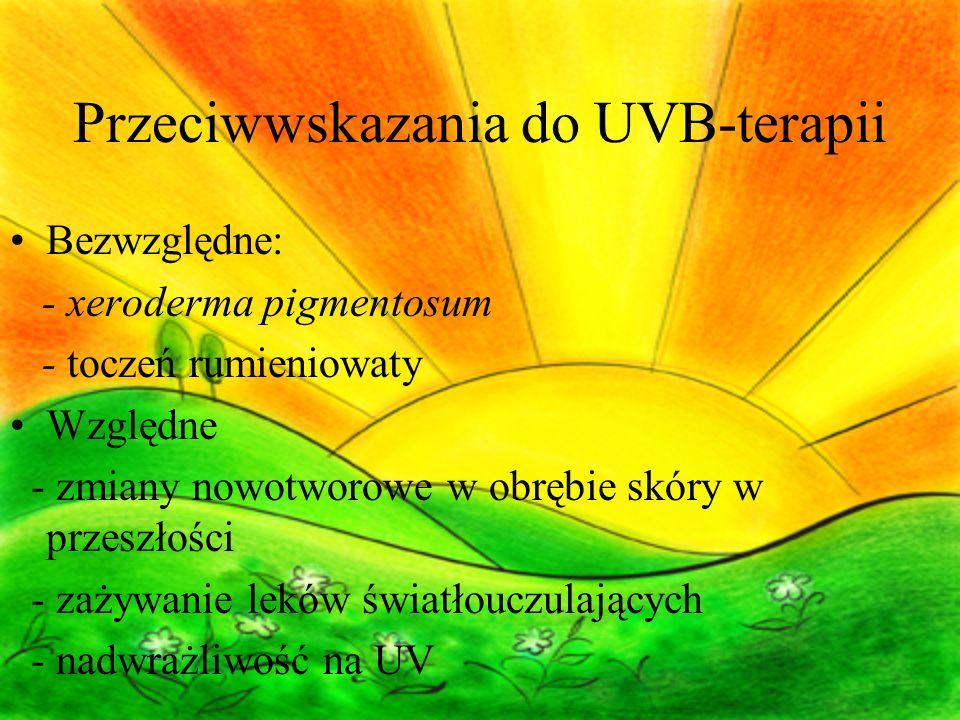 Przeciwwskazania do UVB-terapii Bezwzględne: - xeroderma pigmentosum - toczeń rumieniowaty Względne - zmiany nowotworowe w obrębie skóry w przeszłości - zażywanie leków światłouczulających - nadwrażliwość na UV