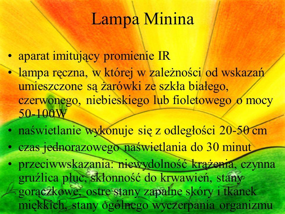 Lampa Minina aparat imitujący promienie IR lampa ręczna, w której w zależności od wskazań umieszczone są żarówki ze szkła białego, czerwonego, niebies