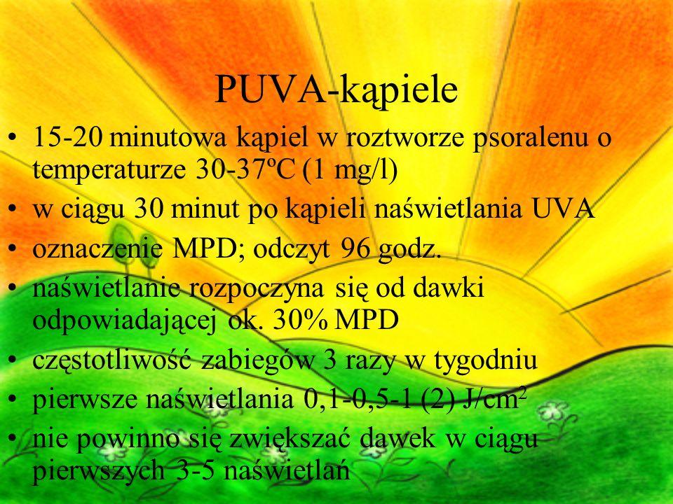 PUVA-kąpiele 15-20 minutowa kąpiel w roztworze psoralenu o temperaturze 30-37ºC (1 mg/l) w ciągu 30 minut po kąpieli naświetlania UVA oznaczenie MPD; odczyt 96 godz.