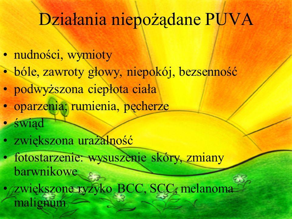 Działania niepożądane PUVA nudności, wymioty bóle, zawroty głowy, niepokój, bezsenność podwyższona ciepłota ciała oparzenia; rumienia, pęcherze świąd zwiększona urażalność fotostarzenie: wysuszenie skóry, zmiany barwnikowe zwiększone ryzyko BCC, SCC, melanoma malignum