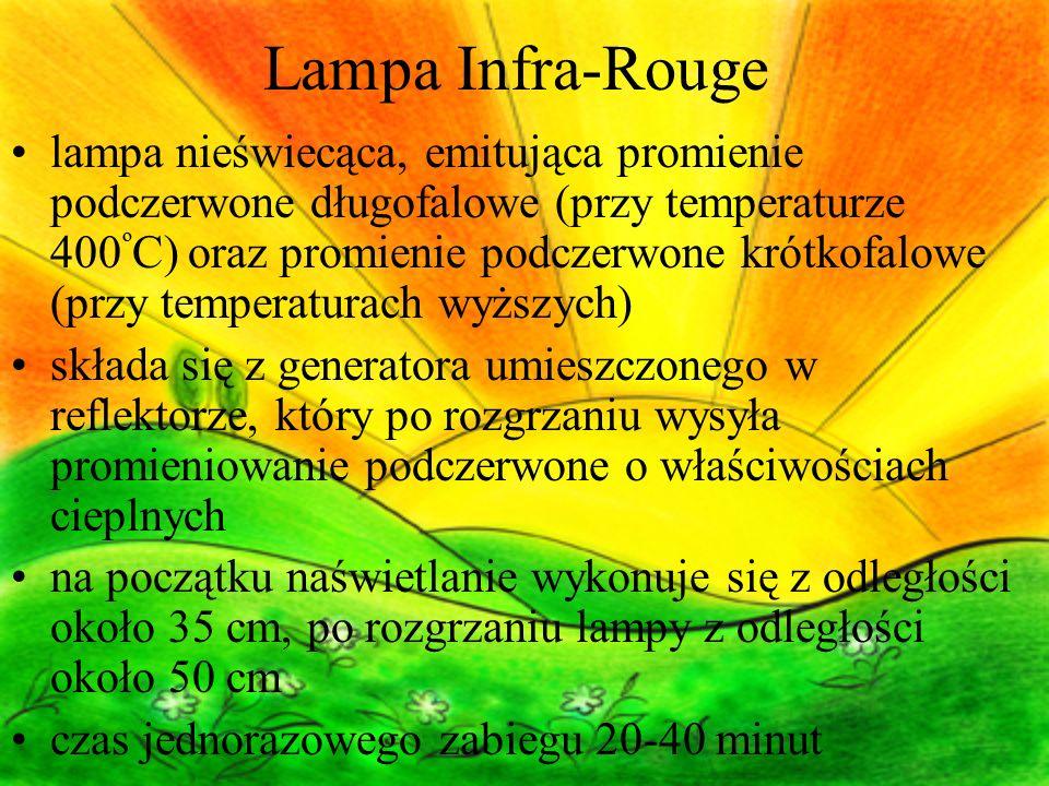 Lampa Infra-Rouge lampa nieświecąca, emitująca promienie podczerwone długofalowe (przy temperaturze 400 º C) oraz promienie podczerwone krótkofalowe (