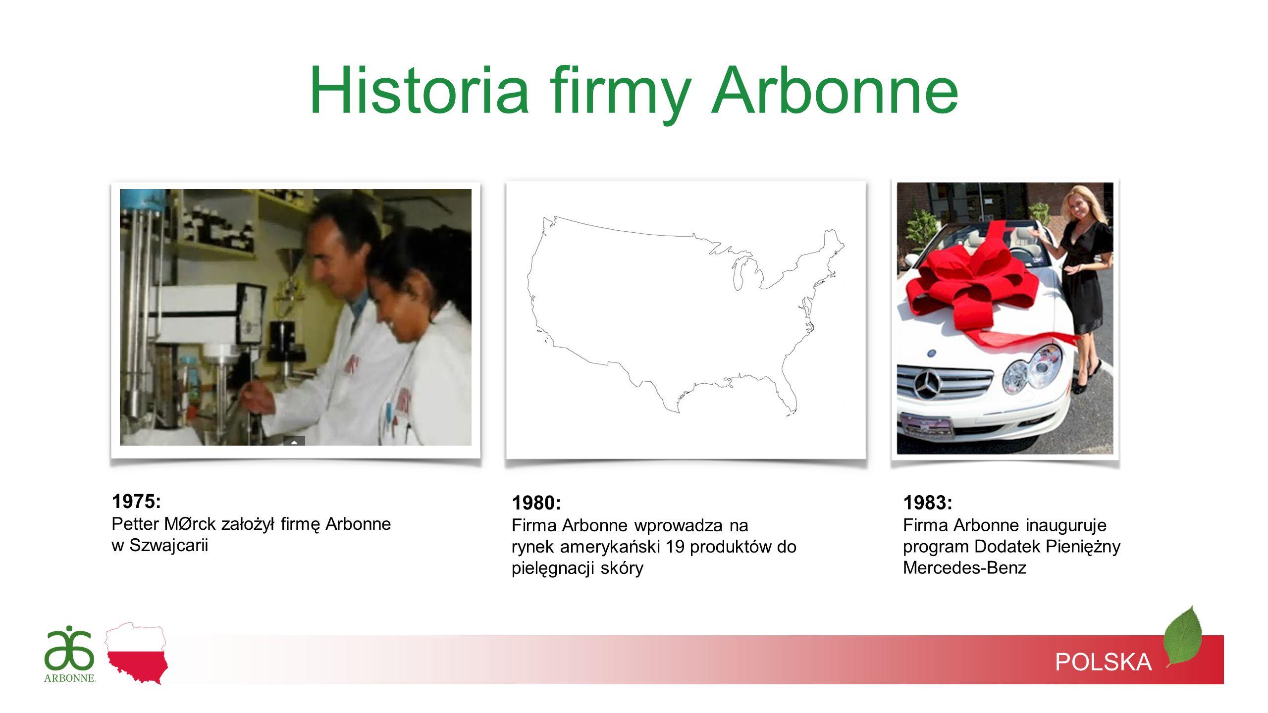 Historia firmy Arbonne 1975: Petter MØrck założył firmę Arbonne w Szwajcarii 1983: Firma Arbonne inauguruje program Dodatek Pieniężny Mercedes-Benz 19