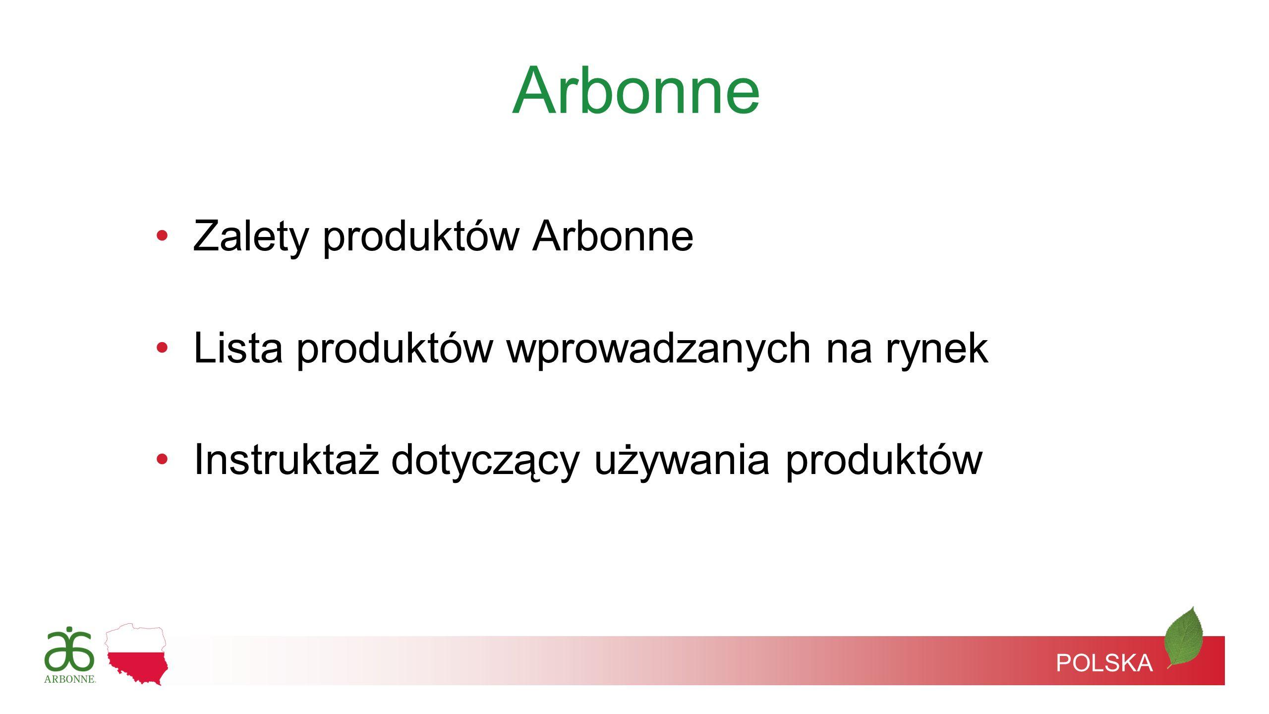 Zalety produktów Arbonne Lista produktów wprowadzanych na rynek Instruktaż dotyczący używania produktów Arbonne