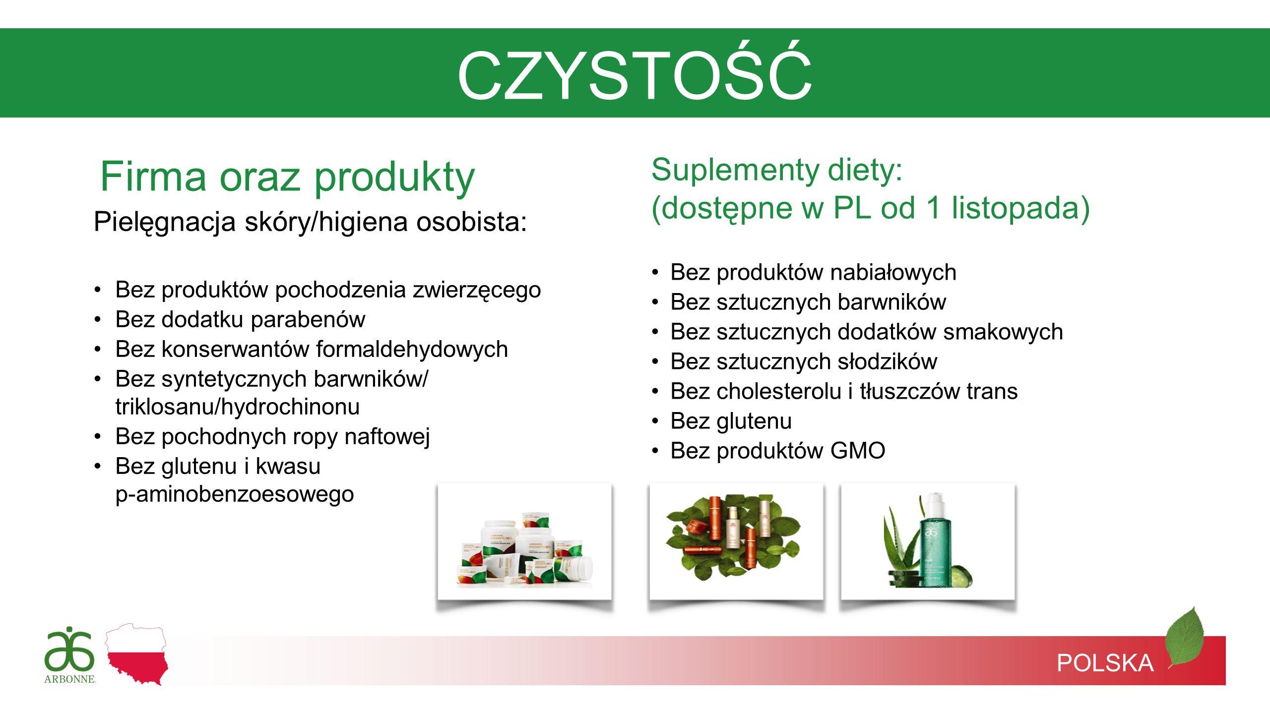 POLSKA Pielęgnacja skóry/higiena osobista: Bez produktów pochodzenia zwierzęcego Bez dodatku parabenów Bez konserwantów formaldehydowych Bez syntetycz