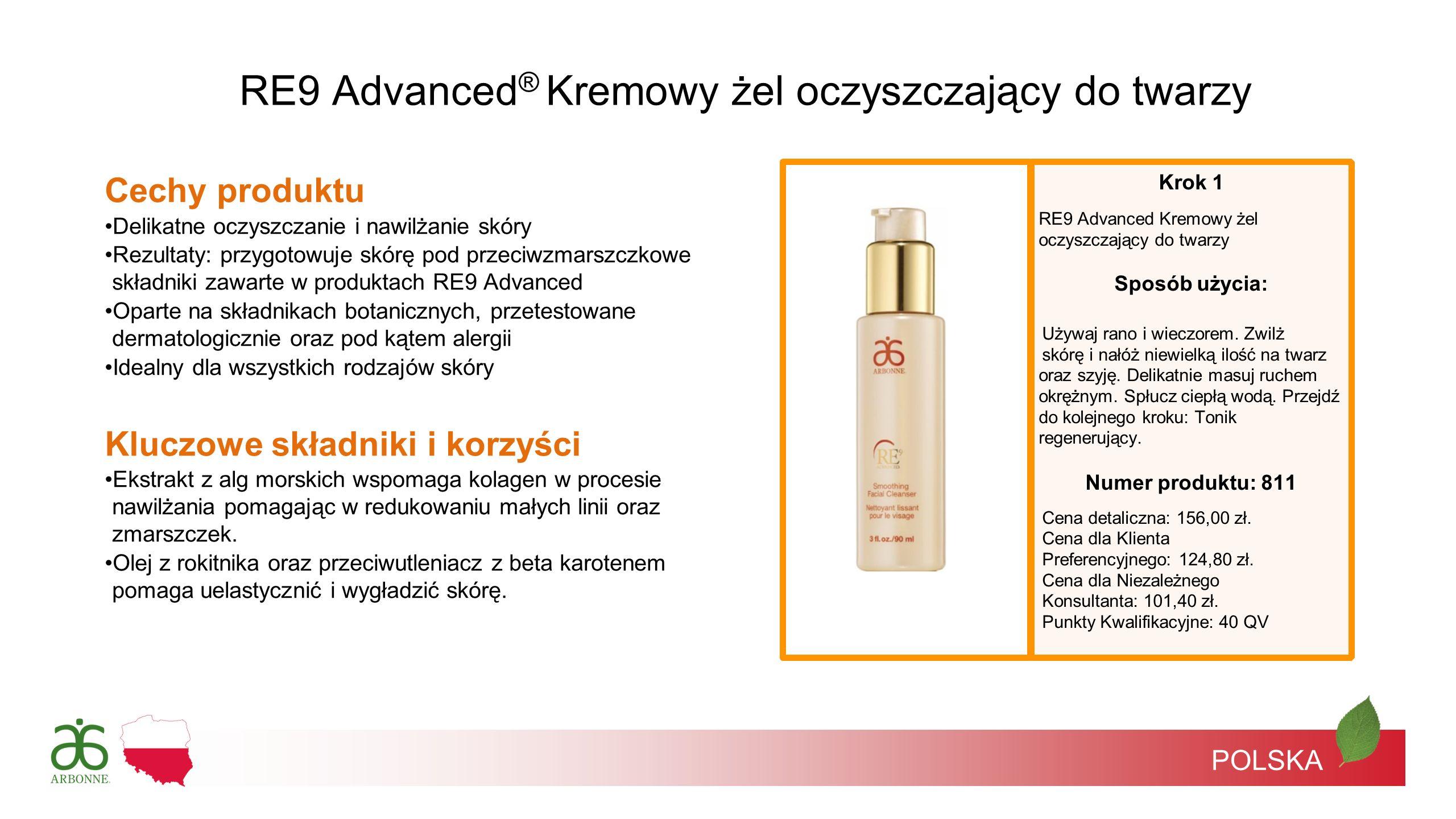 POLSKA Krok 1 RE9 Advanced Kremowy żel oczyszczający do twarzy Sposób użycia: Używaj rano i wieczorem. Zwilż skórę i nałóż niewielką ilość na twarz or