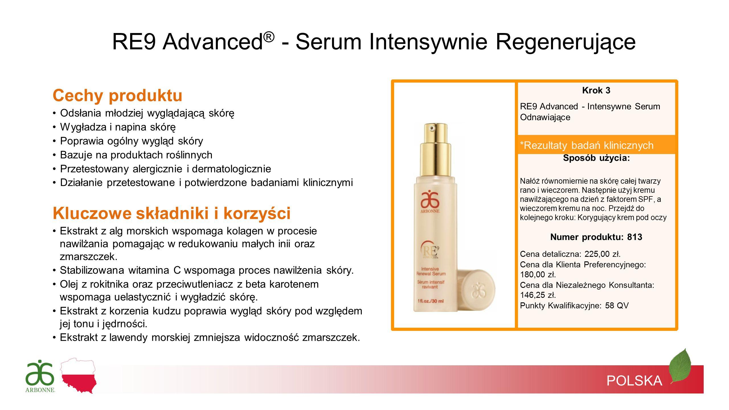 POLSKA *Rezultaty badań klinicznych RE9 Advanced ® - Serum Intensywnie Regenerujące Krok 3 RE9 Advanced - Intensywne Serum Odnawiające Sposób użycia: