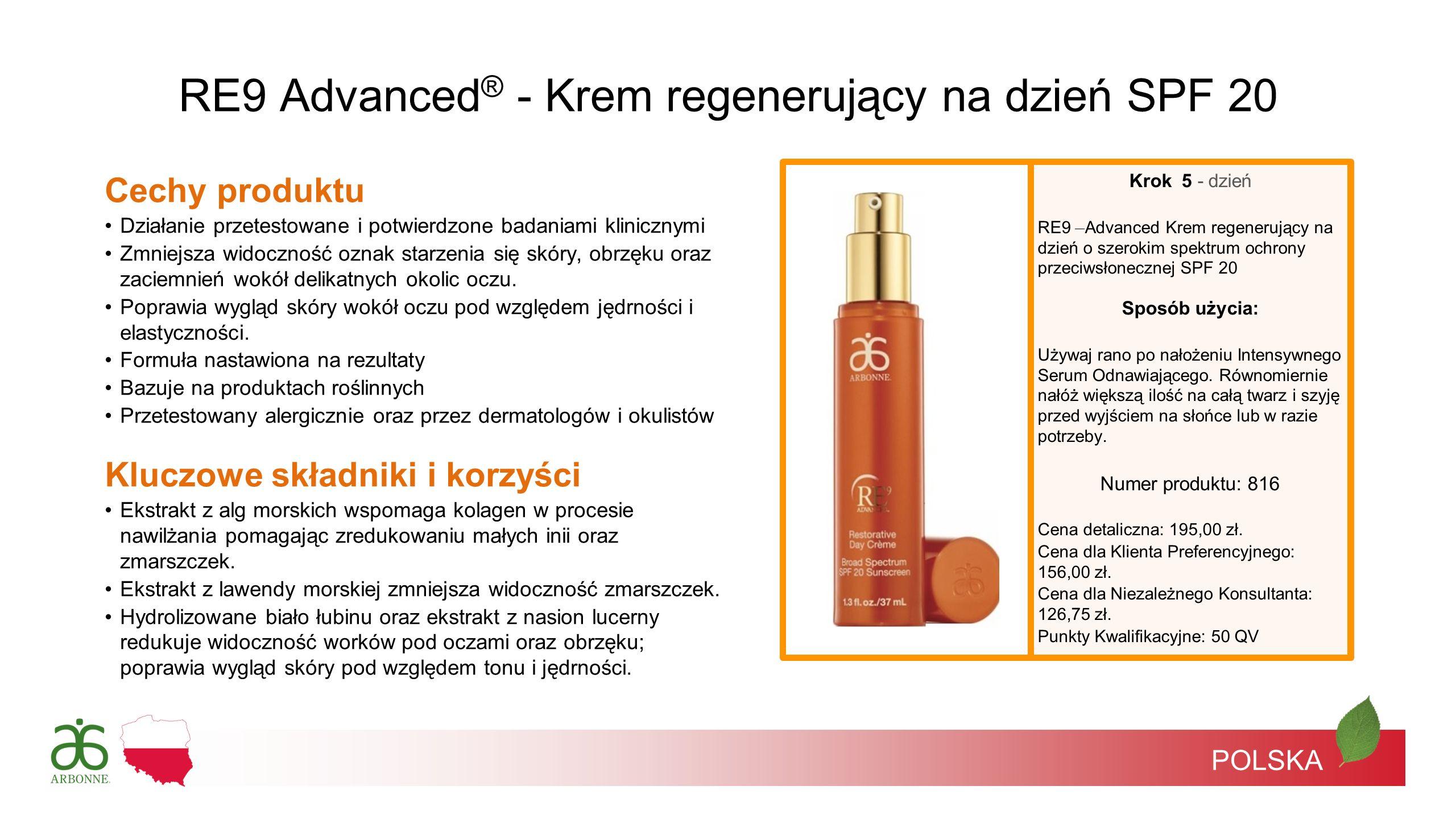POLSKA RE9 Advanced ® - Krem regenerujący na dzień SPF 20 Krok 5 - dzień RE9 Advanced Krem regenerujący na dzień o szerokim spektrum ochrony przeciwsł