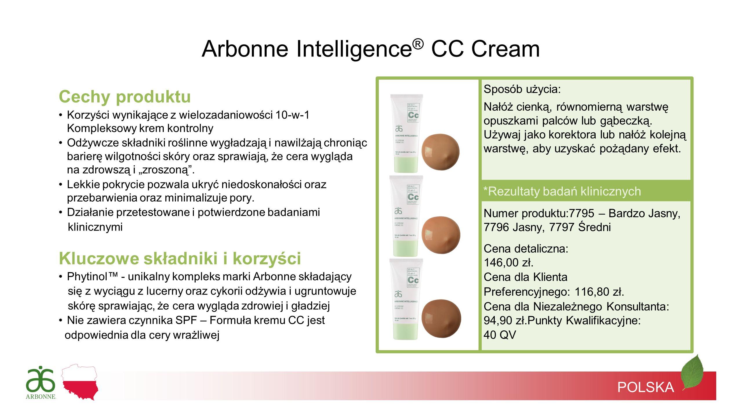 POLSKA *Rezultaty badań klinicznych Arbonne Intelligence ® CC Cream Sposób użycia: Nałóż cienką, równomierną warstwę opuszkami palców lub gąbeczką. Uż