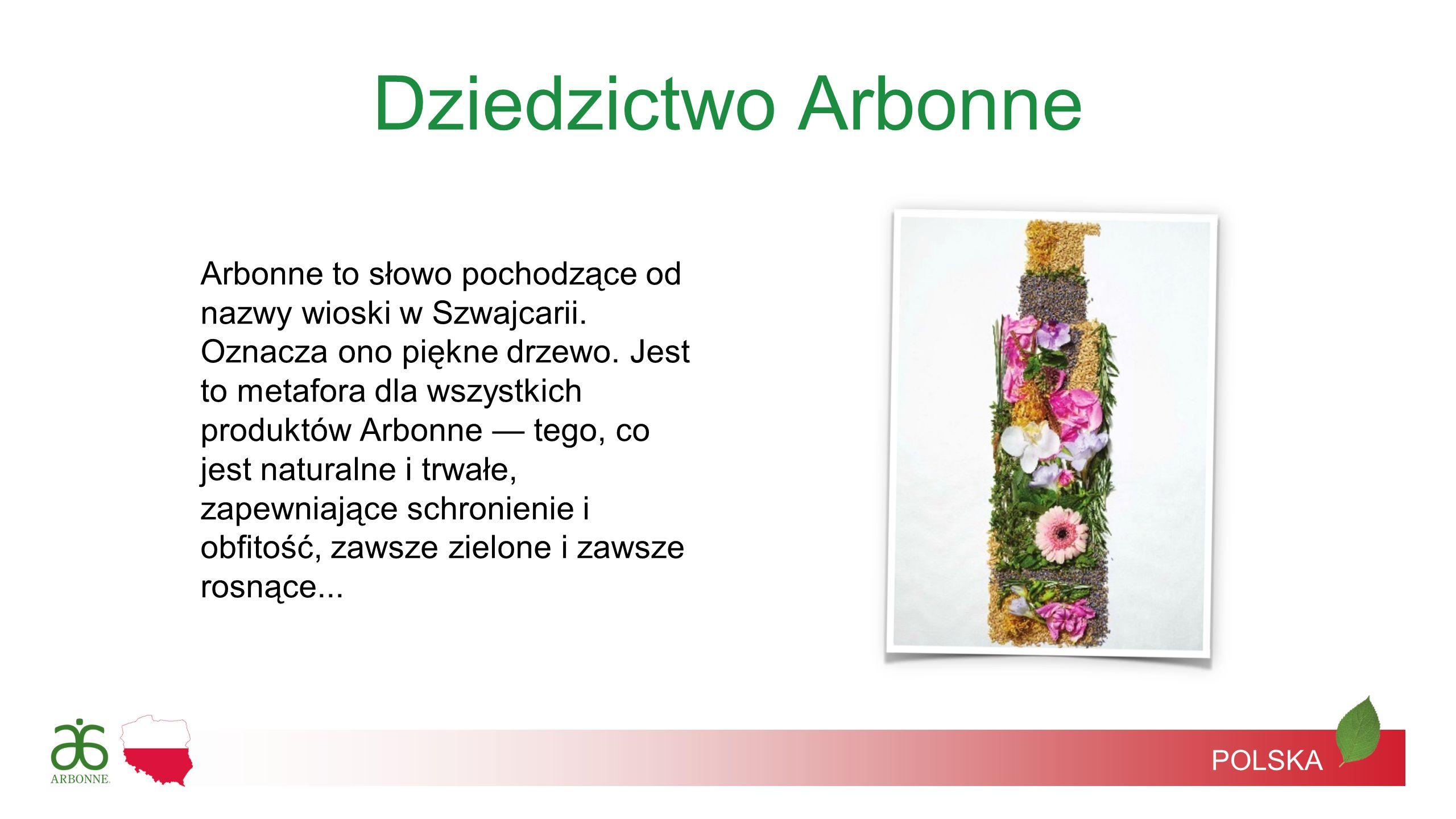 Dziedzictwo Arbonne Arbonne to słowo pochodzące od nazwy wioski w Szwajcarii. Oznacza ono piękne drzewo. Jest to metafora dla wszystkich produktów Arb