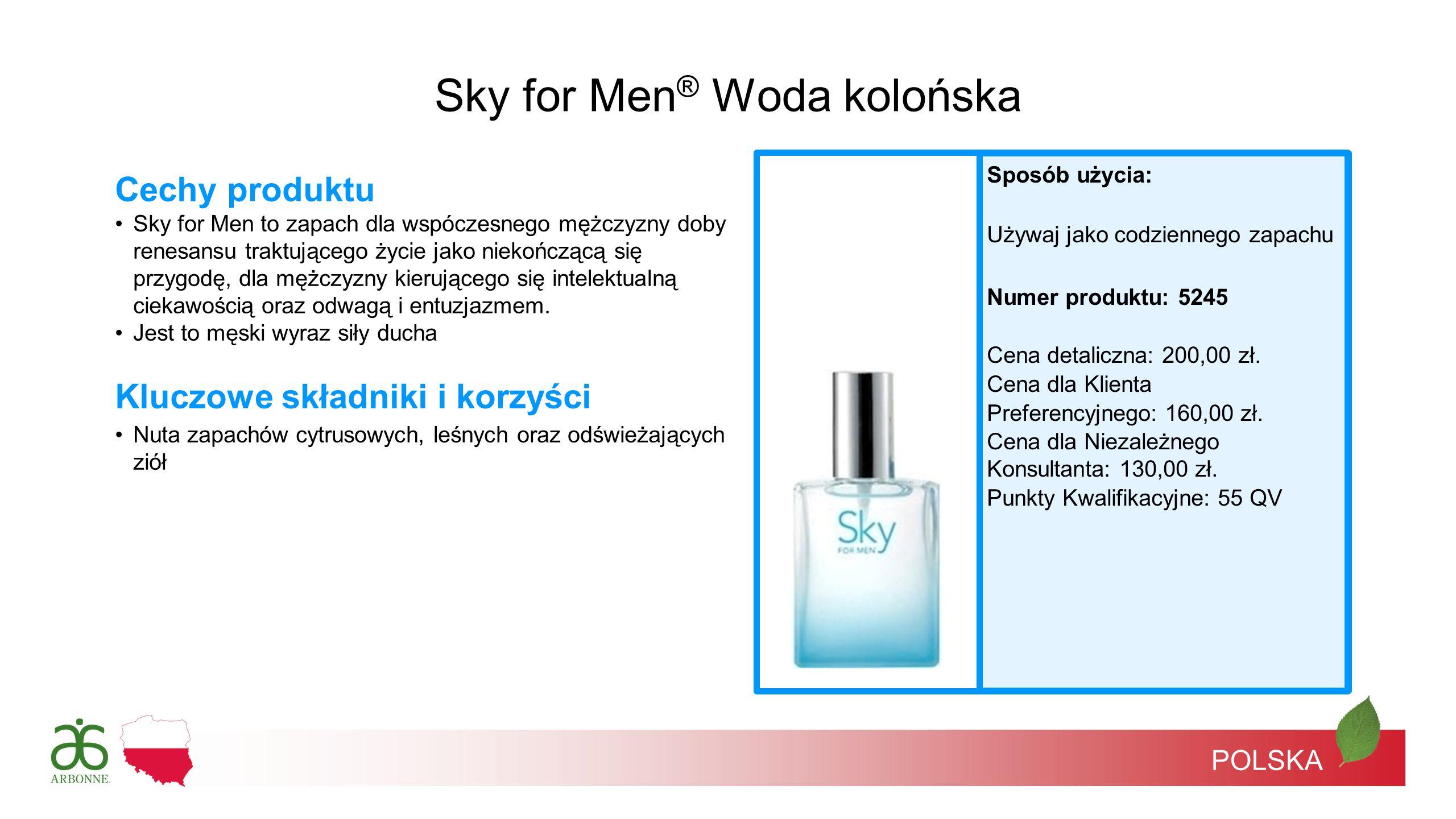 POLSKA Sposób użycia: Używaj jako codziennego zapachu Numer produktu: 5245 Cena detaliczna: 200,00 zł. Cena dla Klienta Preferencyjnego: 160,00 zł. Ce