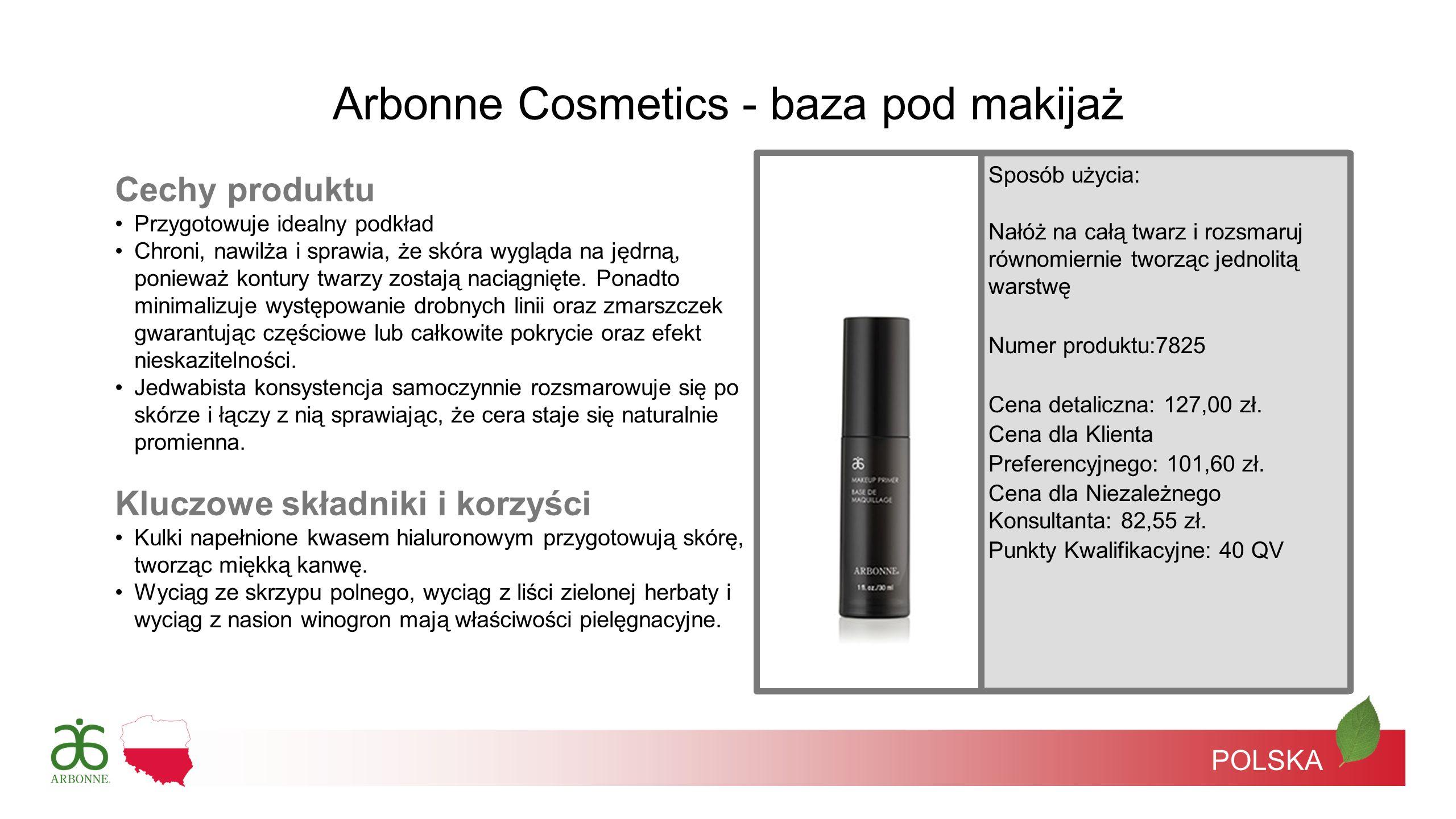 Arbonne Cosmetics - baza pod makijaż Cechy produktu Przygotowuje idealny podkład Chroni, nawilża i sprawia, że skóra wygląda na jędrną, ponieważ kontu