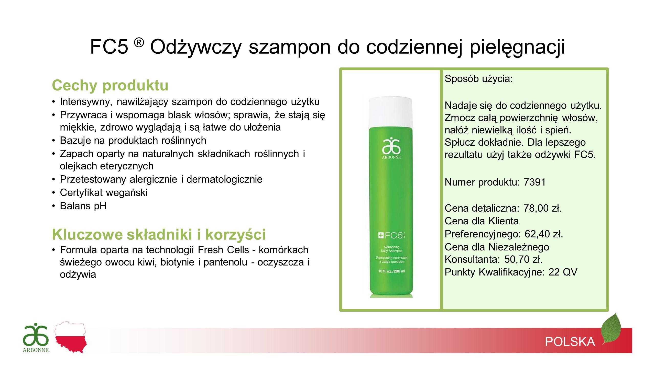 POLSKA Cechy produktu Intensywny, nawilżający szampon do codziennego użytku Przywraca i wspomaga blask włosów; sprawia, że stają się miękkie, zdrowo w