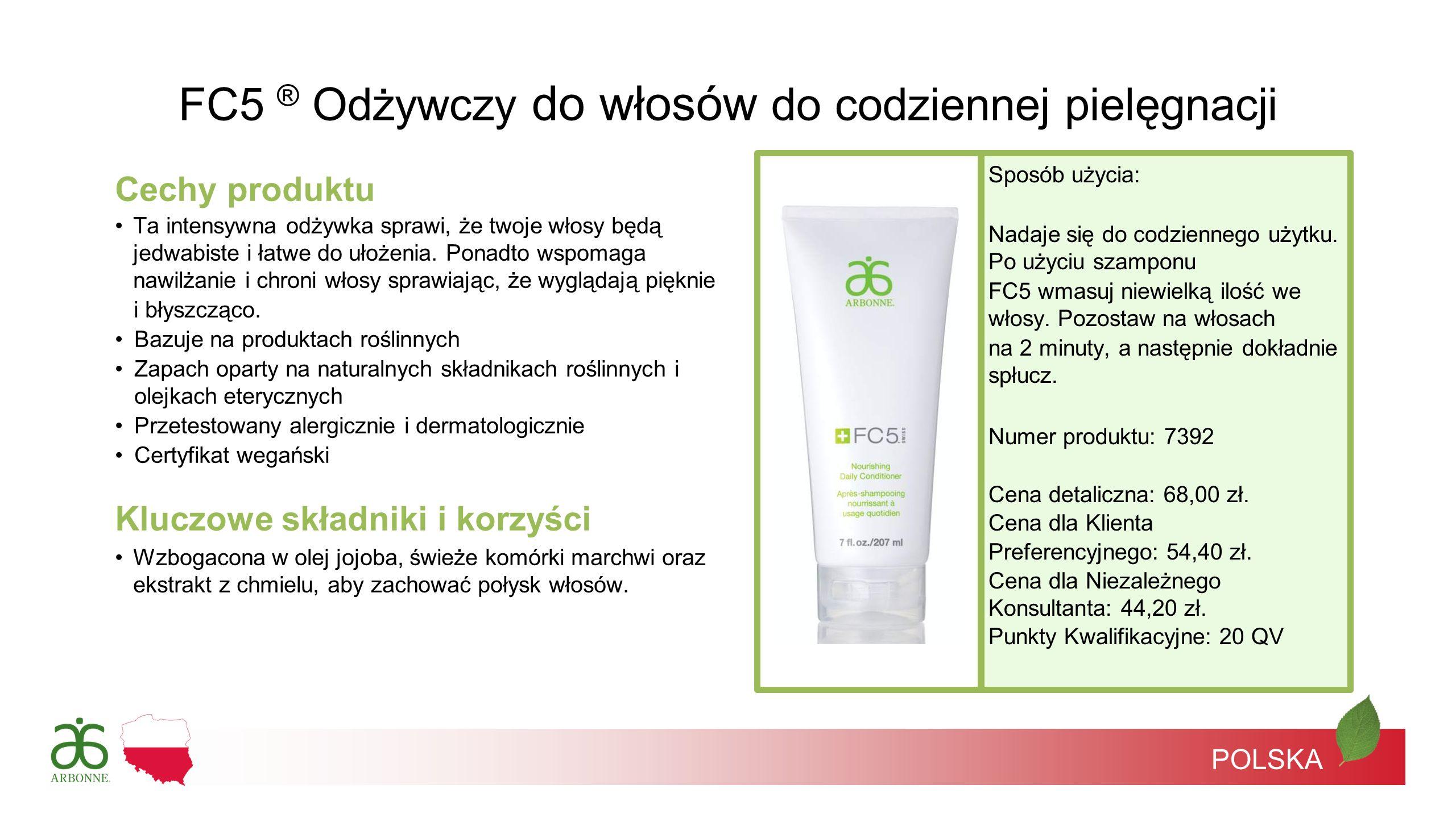POLSKA FC5 ® Odżywczy do włosów do codziennej pielęgnacji Cechy produktu Ta intensywna odżywka sprawi, że twoje włosy będą jedwabiste i łatwe do ułoże