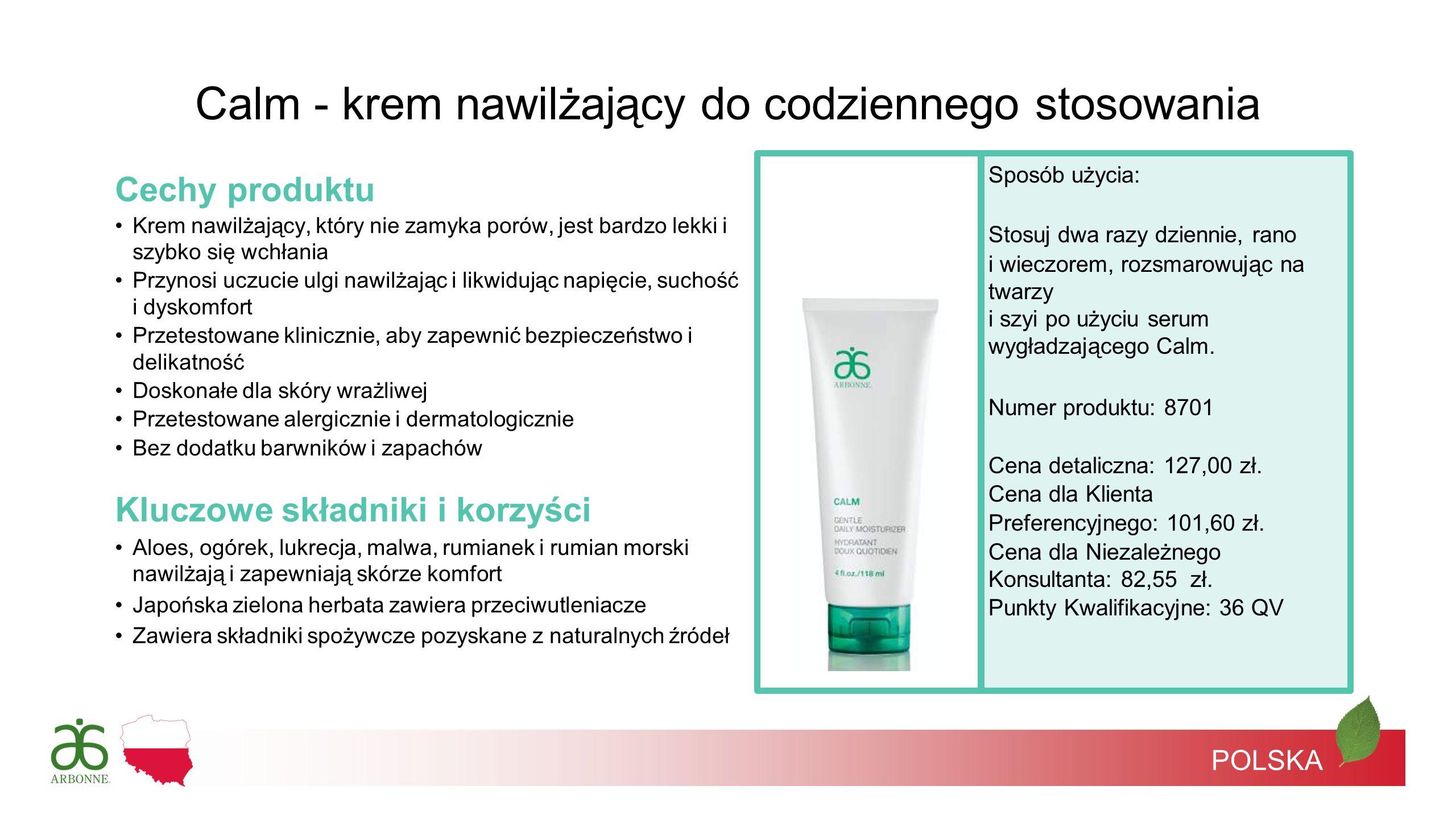 POLSKA Cechy produktu Krem nawilżający, który nie zamyka porów, jest bardzo lekki i szybko się wchłania Przynosi uczucie ulgi nawilżając i likwidując